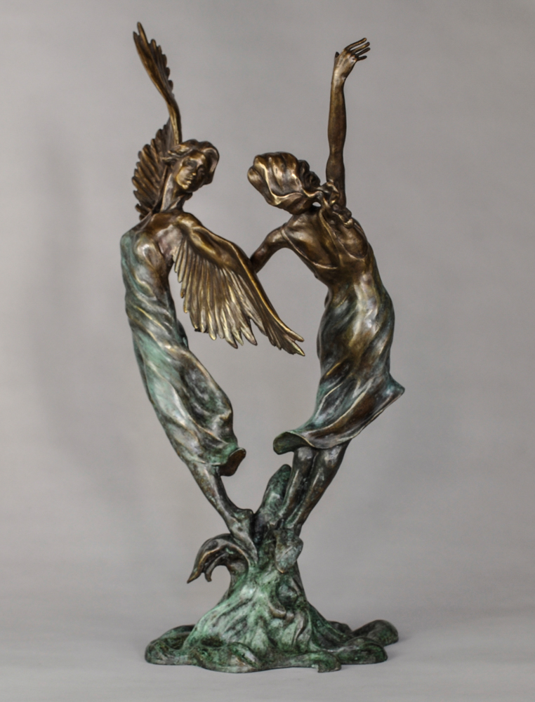 two female figures - one with wings
