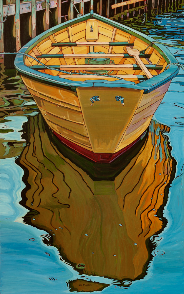 """Oil on canvas painting 30"""" x 48"""" Yellow Dorie and Dock in Nfld."""