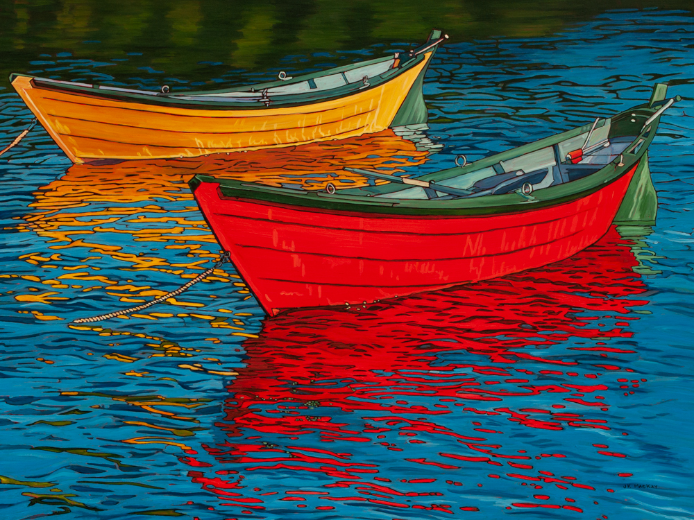 """Oil on canvas painting 36"""" x 48 """" Red and Yellow Dories in Nfld harbour"""