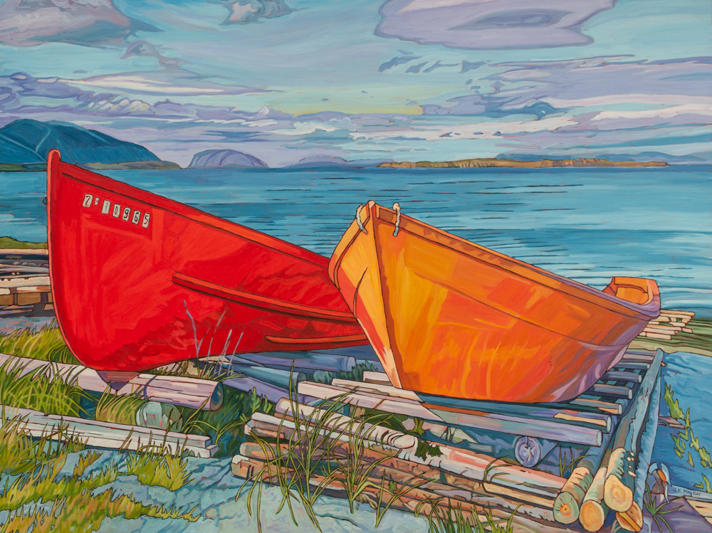 """Oil on canvas painting 36"""" x 48"""" Two fishing boats on Nfld. shore"""
