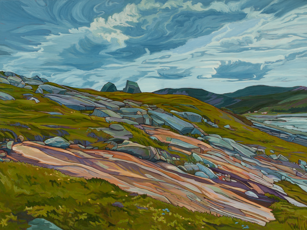 "Oil on canvas painting 36"" x 48"" Newfoundland shore"