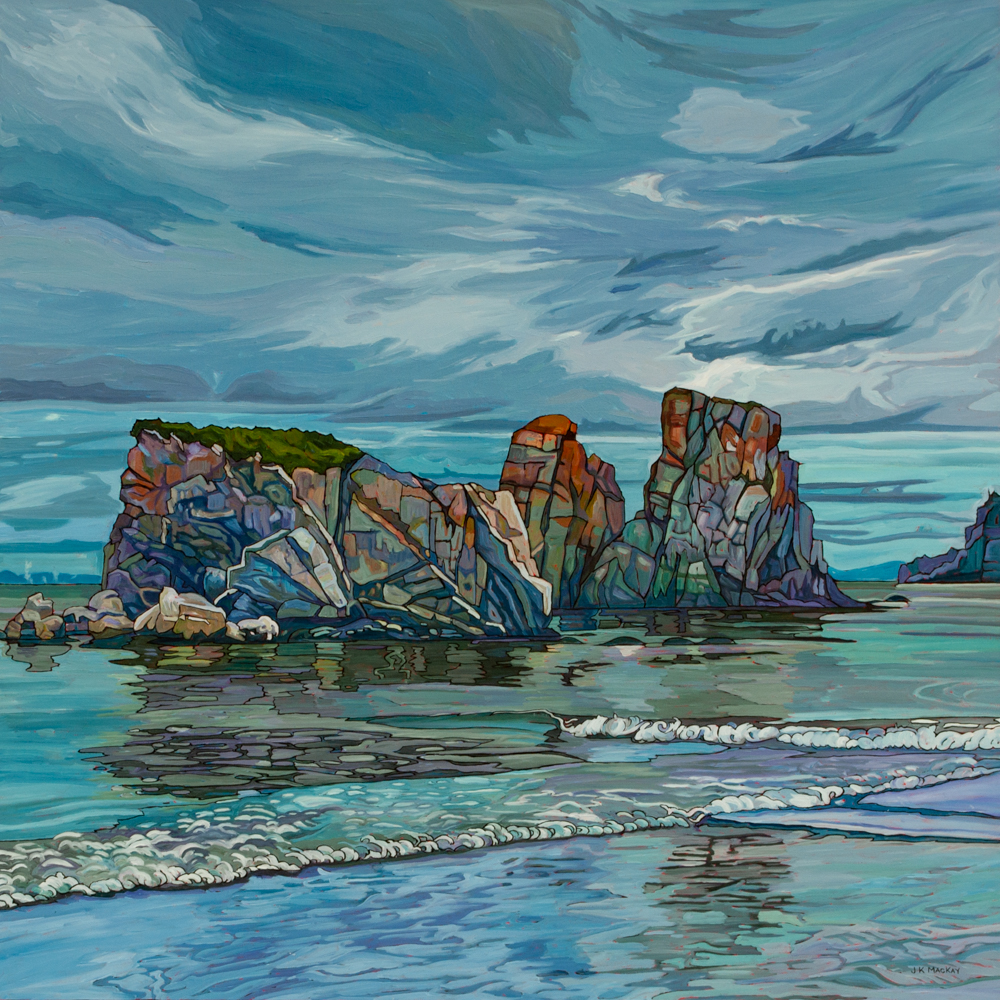"""Oil on canvas painting 36"""" x 36"""" Rocky Island in Nfld harbour"""