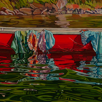 Red Canoe for Two – SOLD