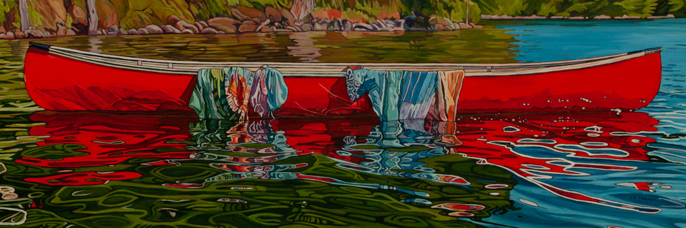 """Oil on canvas painting 20"""" x 60 """" Red Canoe"""