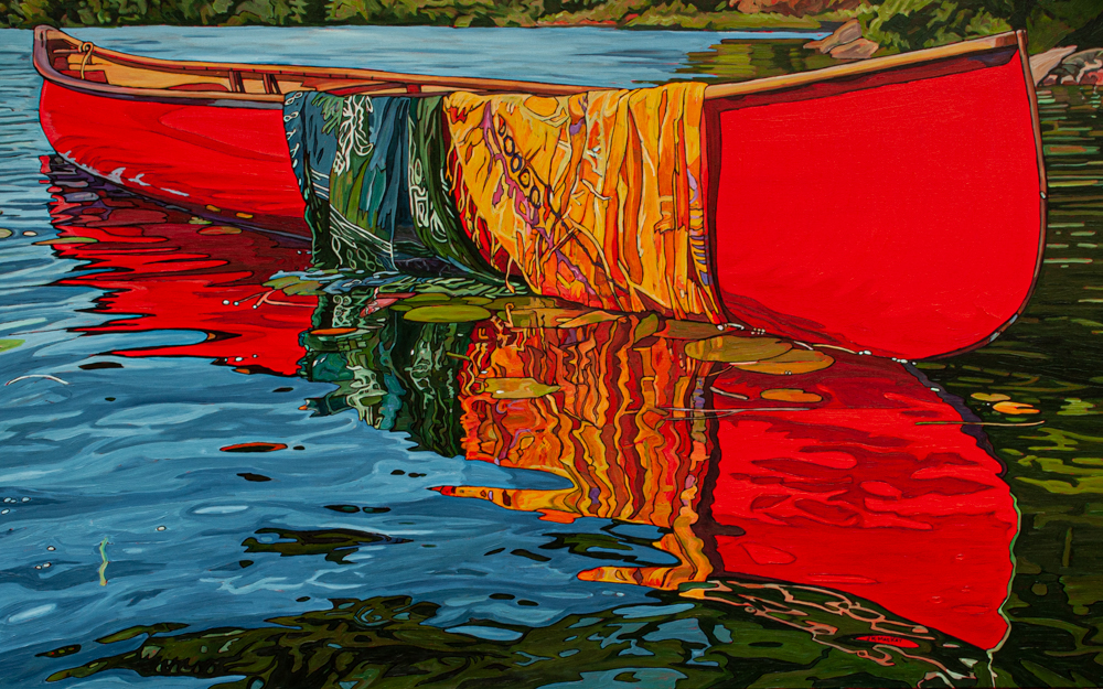 """Oil on canvas painting 30"""" x 48 """" Red Canoe"""