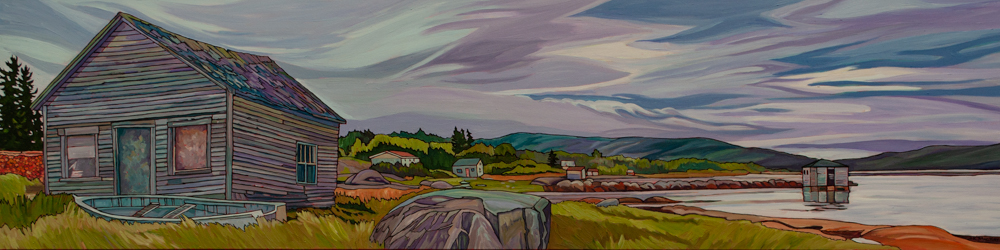"Oil on board painting 15"" x 60"""